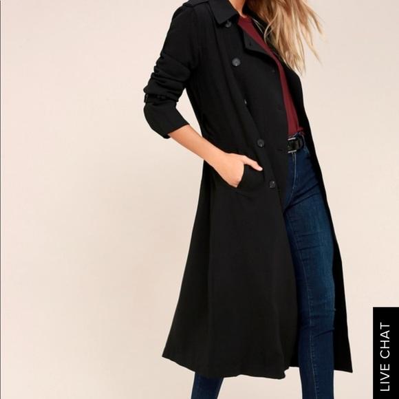 J.O.A. Jackets & Blazers - JOA Los Angeles Black Trench-coat
